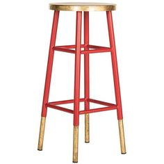 Safavieh Gabriel Barstool Red/gold (1,050 CNY) ❤ liked on Polyvore featuring home, furniture, stools, barstools, bar stools, red lacquer furniture, red furniture, red kitchen island, red bar stools and bright red stool