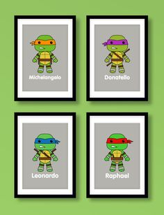 Ninja Turtles wall art boys wall art Teenage Mutant by MiniHeroes, £18.99