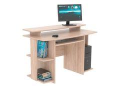 Számítógépasztal, Sonoma tölgy dekorral, kihúzható billentyűzettartóval, monitortartóval, számos nyitott tárolórésszel, Szé/Ma/Mé:kb.118/72/60cm