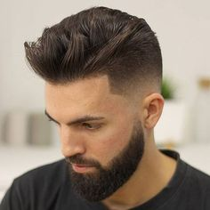 Textured Quiff + Low Bald Fade + Thick Beard