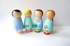 my talented friend, abby, makes these little cuties: Seasons Peg Doll Set by abbyjac on Etsy