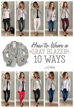 How to wear and style 1 gray blazer 10 different ways! This knit blazer is perfect to dress up or down! It is a great piece for a casual look or work look. And the best part is that it is super comfortable! This is a perfect item for a capsule wardrobe! Summer Work Outfits, Casual Work Outfits, Work Casual, Casual Looks, Cute Outfits, Outfit Work, Work Attire, Business Casual Outfits For Women, Business Attire