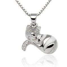 "925 Sterling Silver Rhodium Plating White Striped Cat Enamel White CZ Stone Accent Pendant Necklace, Women and Teen Jewelry 18'' - Nickel Free Chuvora. $33.99. Packaging: Black Velvet Pouch; Pendant Size: 1.5 x 1.8 cm. Silver Necklace Length: 18''; Weight: 4.2 g.; There are 2 colors available for this designs : Black and White. More Cat jewelry available in Chuvora store. Please search Amazon for ""Chuvora Cat""; Marked .925 Sterling Silver"