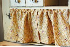 How to Hang Small Cabinet Curtains for Cheap via Cottage Magpie Small Curtains, How To Make Curtains, Diy Curtains, Hanging Curtains, Diy Cupboards, Cupboard Shelves, Sauna House, Hidden Shelf, Hanging Cabinet