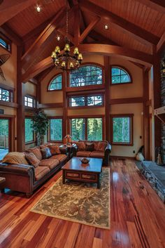 Let the beauty of the outdoors in with a window wall, like this one on the Big Chief Mountain Lodge.