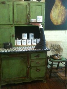 Annie Sloan Chalk Paint Ideas | Annie Sloan Chalk Paint Ideas | / Antibes Green, | Home  My own cupboard painted an accent color