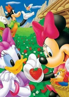 Daisy et Minnie Minnie Mouse Stickers, Mickey Mouse Cartoon, Mickey Mouse And Friends, Mickey Minnie Mouse, Walt Disney, Disney Fun, Disney Magic, Disney Mickey, Disney Cartoon Characters