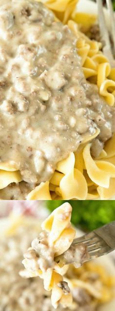This Hamburger Stroganoff from Julie's Eats and Treats is a super easy weeknight supper. It's a cozy and comforting dish that is quick, easy, and super delicious!