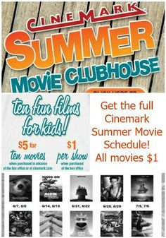 The $1 Cinemark Summer Movie Clubhouse Schedule has been announced! Check out all the great movies you can see this summer for just $1 each. Or purchase as a bundle in advance and pay only $5 for all 10 movies!