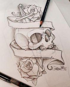 ref - art and sketching tattoo drawings Badass Drawings, Dark Art Drawings, Pencil Art Drawings, Art Drawings Sketches, Tattoo Sketches, Skull Drawings, Skull Artwork, Tattoo Design Drawings, Skull Tattoo Design