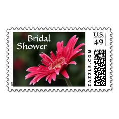 Floral Bridal Shower Stamp, Bright Pink Daisy