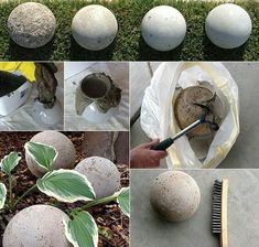 Gartendeko selber machen: DIY Gartenkugeln making garden balls out of concrete as an example of mode Diy Garden Decor, Garden Crafts, Garden Projects, Garden Art, Garden Design, Garden Ideas, Garden Decorations, Patio Design, Landscape Design