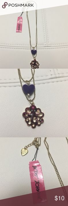Betsey Johnson gold necklace Purple Heart octopus This is a new with tags Betsey Johnson gold necklace. The necklace has a purple felt heart and a red octopus. Betsey Johnson Jewelry Necklaces