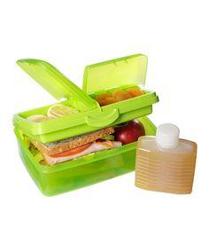 Another great find on #zulily! Green 50-Oz. Slimline Quaddie Lunch Box & Water Bottle by Sistema #zulilyfinds