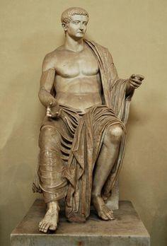 Emperor Tiberius as Jupiter, (colossal) Roman statue (marble), 1st century AD, (Musei Vaticani, Vatican City).