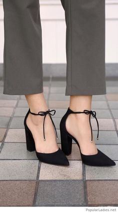 Grey office pants and black high heels Black Pointy Heels 9ac7e9cf9