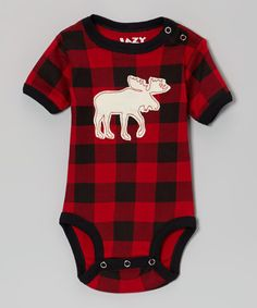 Take a look at this Red & Black Gingham Moose Bodysuit - Infant by Lazy One on #zulily today!