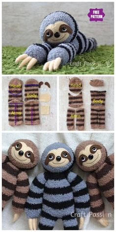 DIY Socks Sloth Free Sewing Pattern & Tutorial - Places Like Heaven - Cool Crafts Sock Crafts, Cute Crafts, Sewing Crafts, Diy And Crafts, Crafts For Kids, Crafts With Socks, Kids Diy, Crafts With Friends, Diy Gifts Sewing