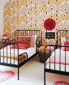 cool kids room. These are the beds that the girls want. They grow with the child.
