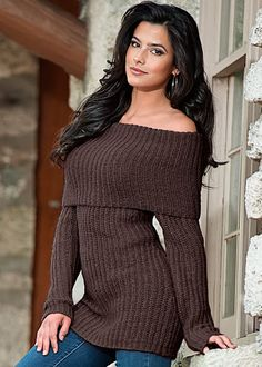 Brown Two way neckline sweater from VENUS. Sizes XS-XL!