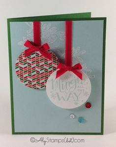 Mingle All the Way Stamp Set turned Christmas Ornament! FREE Instruction Download PDF for this card on the blog.