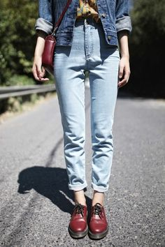 faded mom-jeans with burgundy docs