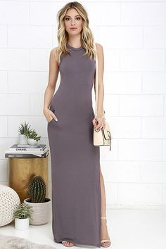Don't underestimate the power of a chic dress like the Shield and Sword Dusty Purple Sleeveless Maxi Dress! Jersey knit tops a fitted, sleeveless bodice that extends down the body to a maxi length, but not before showing off some leg with a high side slit. Kangaroo pocket at front. As Seen On Jessica of Hapa Time blog!