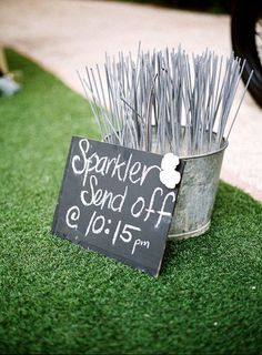 Fun way to send the bride and groom off after reception.. It will be dark enough in September