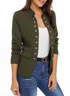 Most Wanted // Fully satisfy your cold weather needs as you wear this super stylish army green stand collar open-front blazer. Casual T Shirts, Casual Outfits, Green Blazer Outfits, Blazers For Women, Jackets For Women, Shower Outfits, Look Blazer, Military Fashion, Women's Fashion Dresses