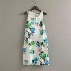 Women Floral Print Ruffles Dress Sleeveless Summer Fashion Casual Ladies  Beach High Quality Dress 87cafa577f84