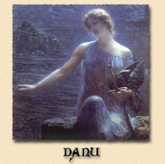 Danu, Anu, or Dana, is the ancient Mother Goddess of Ireland. The Welsh Don is her equivalent. She is the Goddess worshipped by the sidhe race the Tuatha de Dannan. Some believe that the Moon Goddess Diana, the Faery Queen of Witcheries, derived from the Great Danu.