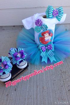 *****PLEASE TAKE A MINUTE TO READ THE DESCRIPTION***** Thank you  THE OUTFIT INCLUDES: Tutu, (lavender, teal, aqua), shirt or onesie and headband