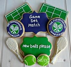 "Some of the cutest we've seen yet! Anyone for Tennis Cookies? Love the ""new balls please"" plaque"