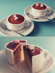cupcakes with fondant to look like hot chocolate cups-cute! Hot Chocolate Cupcakes, Chocolate Cups, Vanilla Cupcakes, Yummy Cupcakes, Chocolate Frosting, Chocolate Coffee, Marshmallow Cupcakes, Chocolate Tiramisu, Party Cupcakes