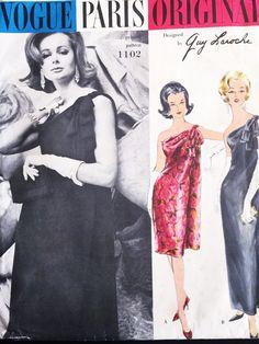 60s GORGEOUS Guy Laroche Evening Dress Gown Pattern VOGUE Paris Original 1102 One Shoulder Dress B 34 Vintage Sewing Pattern UNCUT + Label