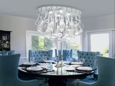 Big modern chandelier - Amazing dining room big chandelier