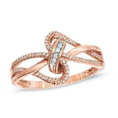 1/6 CT. T.W. Diamond Looping Ribbon Ring in 10K Rose Gold - Zales