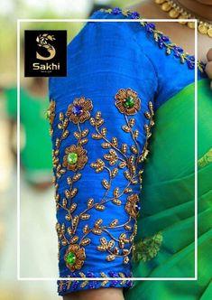 Sakhi Azad Road, Near - Bisimi Supermarket Kaloor- Cochin - 682017 Mob : 9048588061 Kurti Embroidery Design, Embroidery Neck Designs, Embroidery Patterns, Sari Blouse Designs, Bridal Blouse Designs, Blouse Patterns, Sleeves Designs For Dresses, Sleeve Designs, Kalamkari Dresses