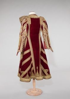 Albanian 'pirpiri'-coat.  For women.  Late-Ottoman, Early 20th century.  Adorned with metal thread embroidery, golden braid and cordage.  Albania was a part of the Ottoman Empire until 1912.