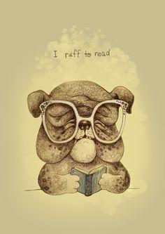 I ruff to read Art Print by Ma. Luisa Gonzaga - X-Small Book Corners, Reading Art, Whimsical Art, Pencil Drawings, Fashion Art, Teddy Bear, Art Prints, Gallery, Animals