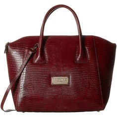 Valentino Bags by Mario Valentino Gigi (Marsala) Handbags ($348) ❤ liked on Polyvore featuring bags, orange, genuine leather bags, zip top bag, strap bag, snake print bag and leather strap bag
