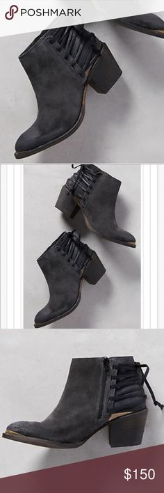 "New! Anthropologie Klub Nico Suede Corset Booties New! Anthropologie Klub Nico Suede Corset Booties • Size 7 • Genuine weathered Suede in coal  • Corset straps wrap around the back stacked heel • 2.5"" chunky block heel • 4"" boot shaft • Side zip • Lightly padded footbed make these edgy boots oh-so comfortable. Originally $200. Anthropologie Shoes Ankle Boots & Booties"