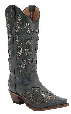 Twisted X® Steppin Out™ Ladies Charcoal w/ Python Print Inlay Snip Toe Western Boots | Cavender's Boot City