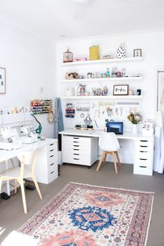 A tour of Megan Nielsen's workroom // A stylish home office with multiple workspaces included sewing space Study Room Decor, Craft Room Decor, Craft Room Storage, Bedroom Decor, White Craft Room, Ikea Girls Bedroom, Craft Room Shelves, Pegboard Craft Room, Craft Room Tables