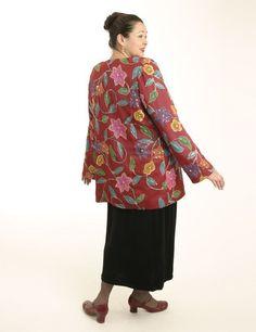 2987b38a66fd2 Plus Size Special Occasion Kimono Coat Silk Velvet Burnout Deco Naturals