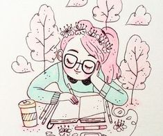 Enjoying spring ❤️I hope you have an amazing week guys Cute Illustration, Character Illustration, Gouache Illustrations, Minimalist Bullet Journal, Character Art, Character Design, Posca Art, Art Anime, Cute Drawings