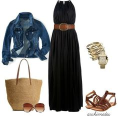 318840848588870554 Black maxi dress and denim jacket. Love the wide belt with this dress.