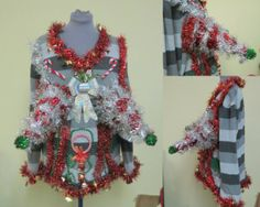 Outrageously Nice 3-D Christmas Trees and Baubles Adult Humor Ugly Christmas Sweater Mens M Womens XLarge  Wild and Fun