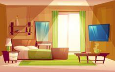 Interior of cozy modern bedroom, living room with double bed, TV set, dresser Free Vector Scenery Background, Living Room Background, Animation Background, Vector Background, Luxury Bedroom Sets, Luxurious Bedrooms, Modern Bedroom, Anime Scenery Wallpaper, Anime Backgrounds Wallpapers