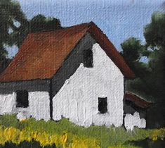 """Miniature Impressionist Farm House Painting 4x4"" original fine art by lynne french."